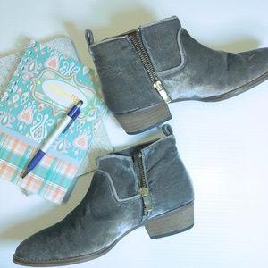 Grey low heel velvet booties
